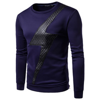 Men's Fashion Chest Plaid Lightning Pullover Hoodie Men Casual Round Collar Long Sleeve Hoodies 2colour