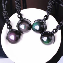 Natural Stone Necklaces & Pendants Women and Men Black Obsidian Rainbow Eye Beads Ball Transfer Good Lucky Love Energy Gift A053(China)