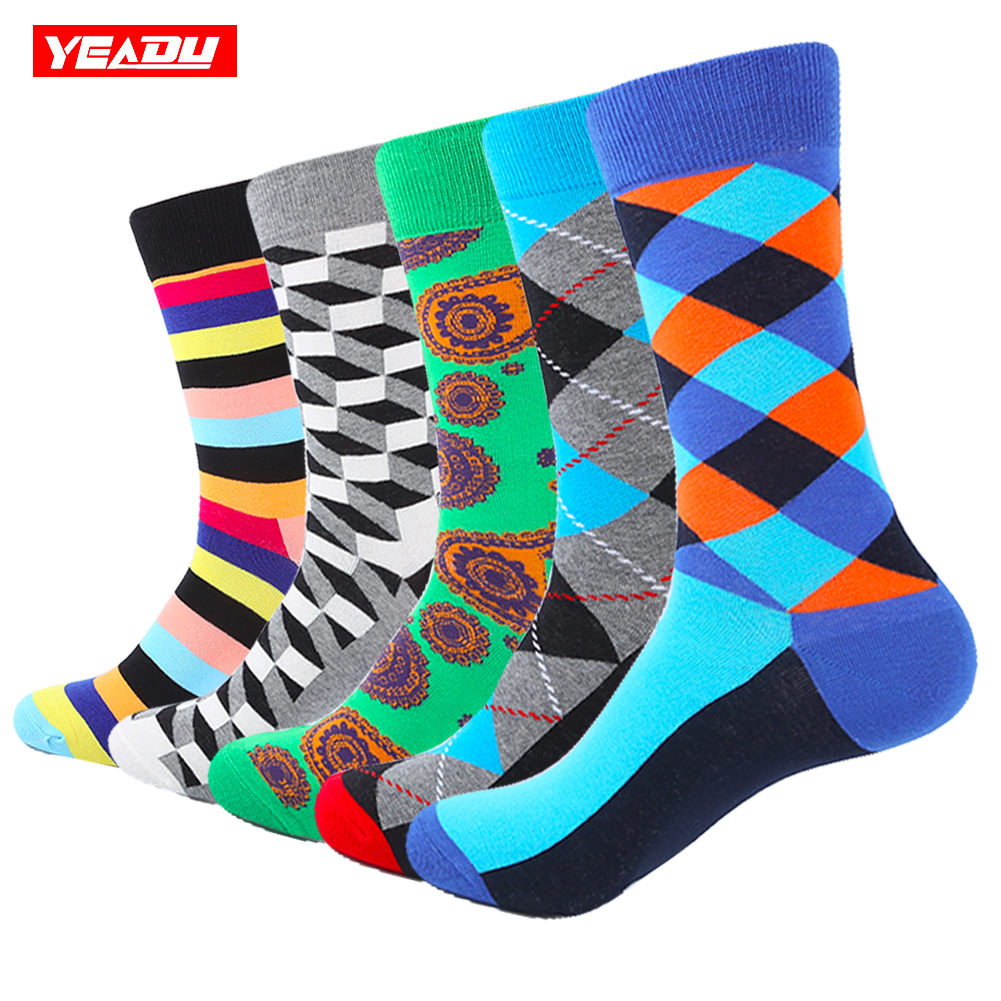 YEADU Big Size Mens Funny Colorful Cotton Socks Geometry Moustache Pattern Dress Crew Socks for Man 5 Pairs/Lot