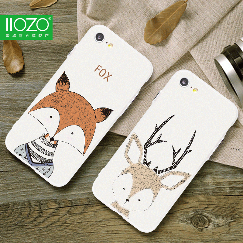 Schöne Hirsch Cartoon Tiere Fall für iPhone 7 8 7plus Fox Deer Hedgehog Hard Back Cover Paar Handyhüllen für iPhone 6 6S Plus