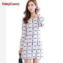 Women Dress 2016 Autumn Winter Elegant Vintage White Plaid Print Long Sleeve Dress Formal Woman Casual Vestidos Office Dress