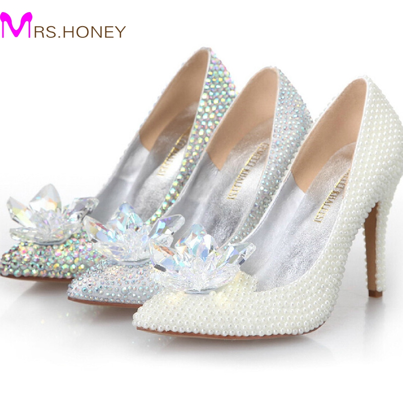2016 Cinderella Crystal Shoes High Heeled Women Stunning