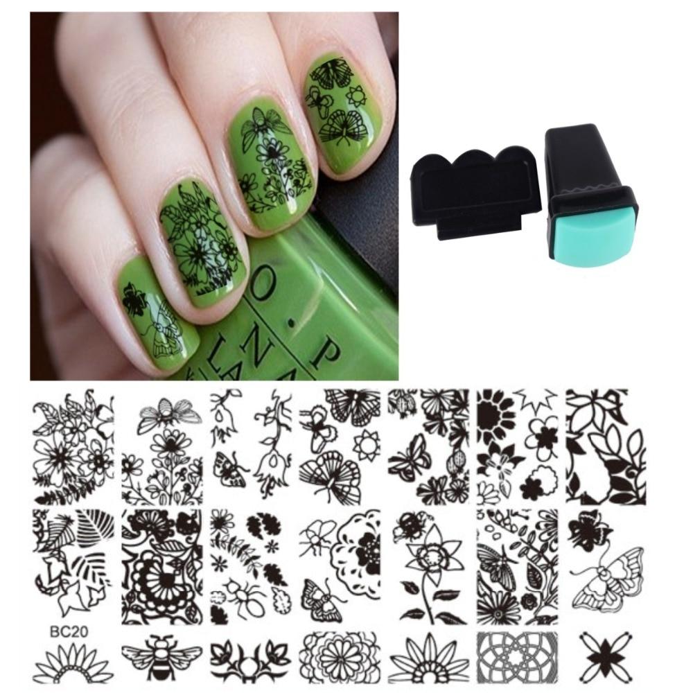 Nueva 1 nail plate + 1 Stamper 1 Rascadores Manicura Stamp stamping ...