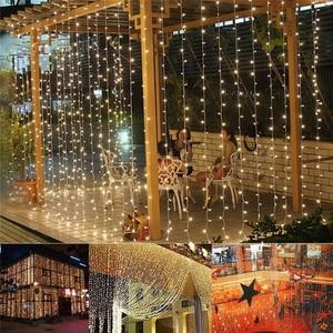 Image 4 - Rideau lumineux de noël, lampe à LED, guirlande lumineuse de 3M * 1M 6M * 3M, décoration intérieure, pour chambre à coucher, fête, mariage, vacances