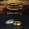 2016 Carta de Magic The Hobbit El Señor de los Anillos de Plata Negro oro titanium del acero inoxidable anillo hombres mujeres senhor dos anéis