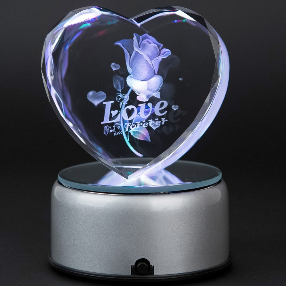 3d Laser Crystal Heart Subsurface Engraved Love Forever