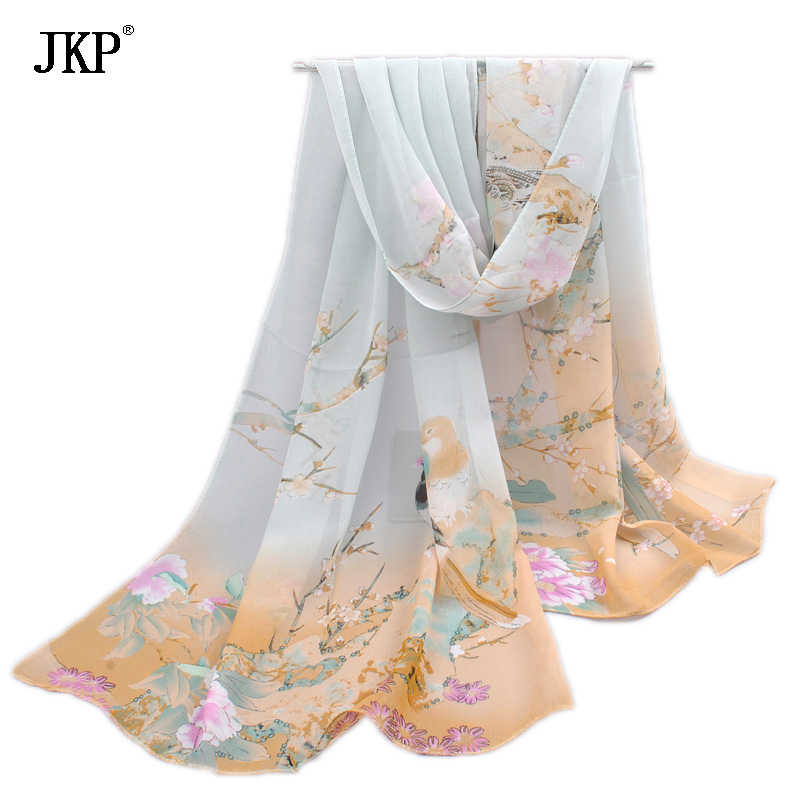 2018 New Women Silk Scarfs Fashion Spring Square polyester Scarves Print flowers Shawl Summer Shawls And Hijabs