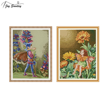 Joy Sunday Chinese Cross Stitch Butterfly Fairy Patterns Printed Canvas 14ct 11ct Aida Fabric Embroidery Kit DMC DIY Needlework