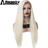 ANOGOL BEAUTY Hair Cap+Platinum Blonde Ombre Dark Roots Middle Part Natural Long Straight Synthetic Lace Front Wig For Women