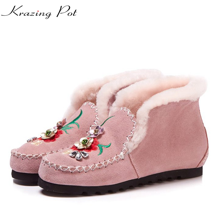 купить Krazing Pot natural sheep fur snow boots for women flat with keep warm embroidery crystal flowers buckle slip on ankle boots L18 дешево