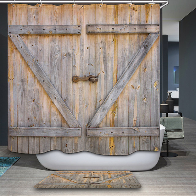 Polyester Shower Curtain Old Bronze Wooden Garage Door Vintage Rustic American Country Style Bathroom Decor Art