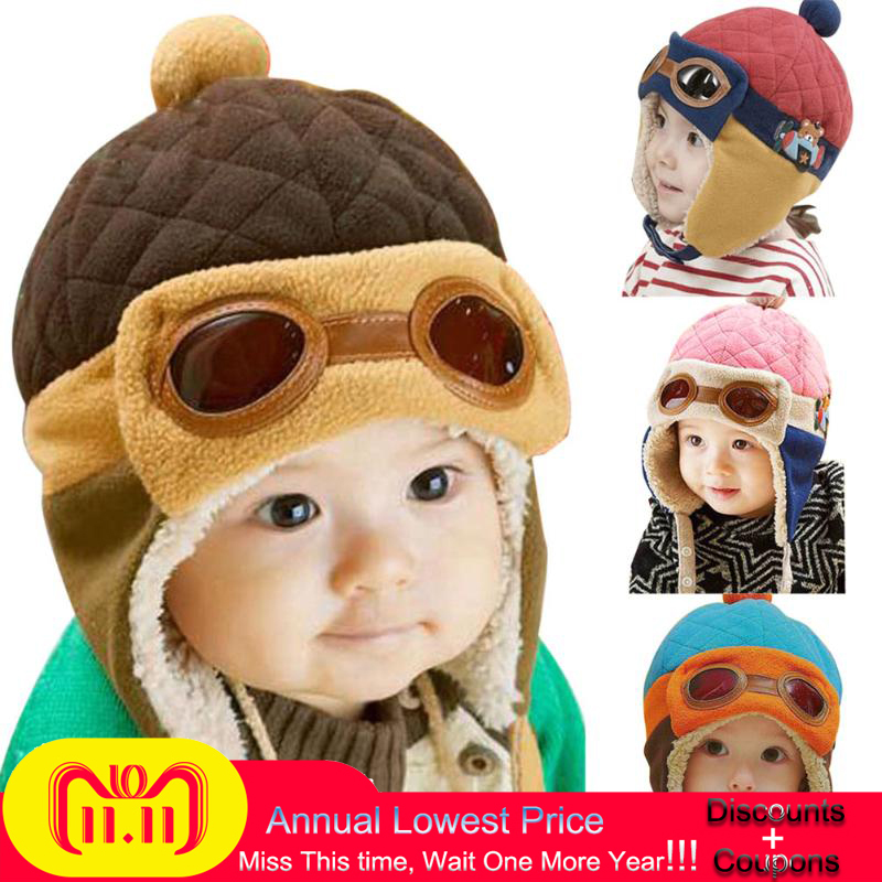 Winter Warm Baby Hats 4 colors Infant Toddlers Boys Girls Beanies&Beanies Pilot Caps Eargflap Hat baby Pilot Winter Warm Cap baby toddler hat winter warm caps knitted newborn hats infant girls beanies skullies
