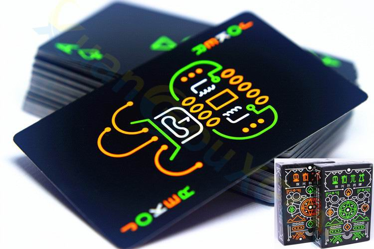 10PCS Luminous Fluorescent Poker Cards cool Black Glow Dark Bar Party Luminous Playing Cards Collection Special Poker board game in Playing Cards from Sports Entertainment