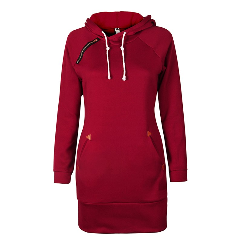 Warm Winter High Quality Hooded Dresses Pocket Long Sleeved Casual Mini Dress Sportwear Women Clothings LX130 16