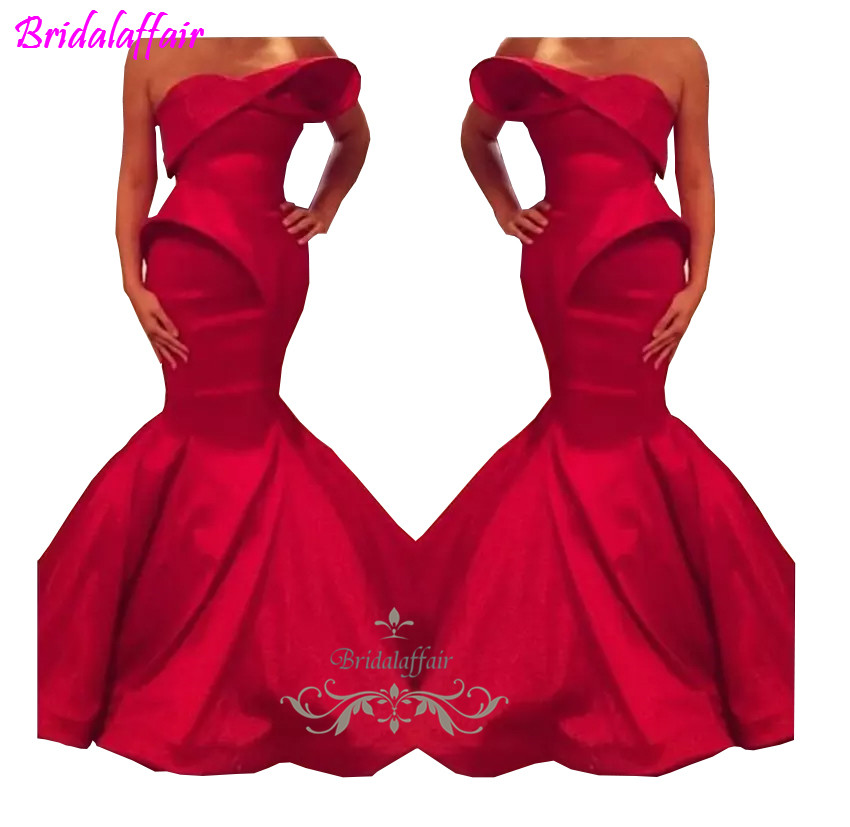 2018 New Saudi Arabian Design Red Sweetheart Mermaid Satin Floor Length Evening   Dresses   Custom Made   Prom     Dress