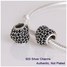 L251b auténtica plata de ley 925 perlas blanco Rhinestone Crystal Love Heart encantos de bolas adapta para Pandora pulsera de DIY que hace