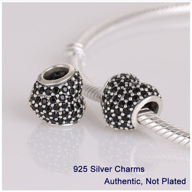 L251B Authentic 925 Sterling Silver Beads White Rhinestone Crystal Love Heart Charms Ball Fits for Pandora Bracelet DIY Making