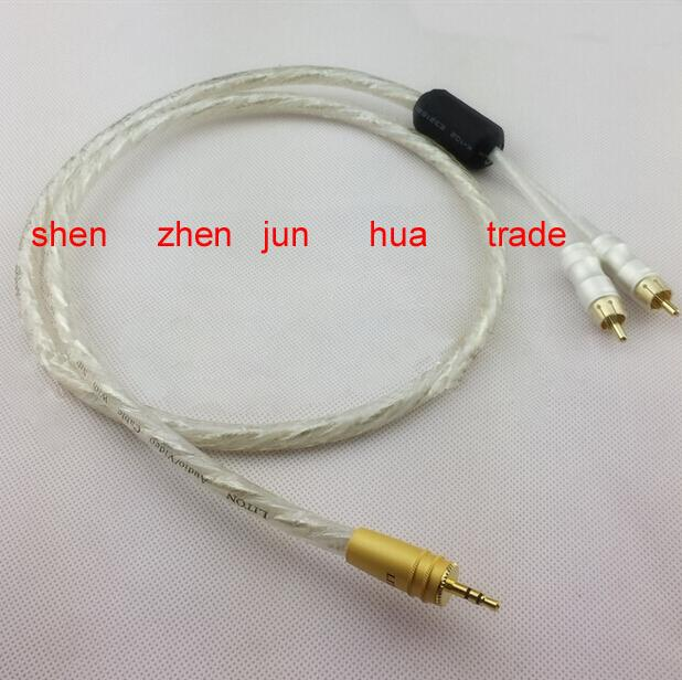 NEW Liton 6N sivel plated 1M Stereo Audio Cable 3.5mm Male to 2 RCA Male for Subwoofer TV Speaker 1meter new liton 6n sivel plated 1m stereo audio cable 3 5mm male to 2 rca male for subwoofer tv speaker