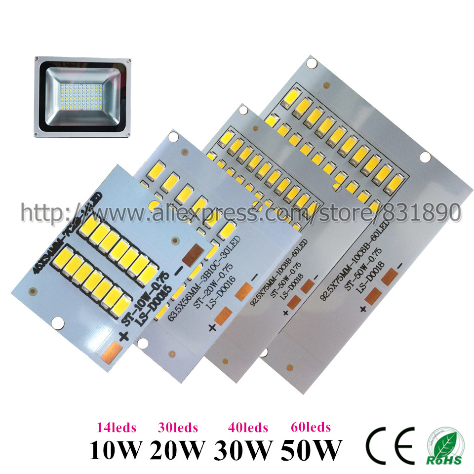5pcs LED pcb floodlight pcb Aluminum lamp plate 10W 20W 30W 50W SMD5730 led Lighting Source Panel lingts for outdoor Floodlight 50w led pcb with smd5730 integrated ic driver aluminum plate free shipping