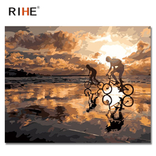 RIHE Sunset Beach Oil Painting By Numbers Lovers Riding Cuadros Decoracion Acrylic Paint On Canvas For Artwork Modern Home Decor