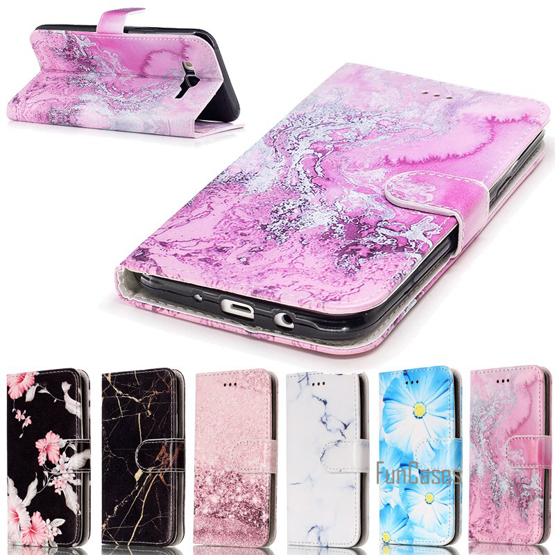 Leather Wallet Cover For <font><b>Samsung</b></font> Galaxy <font><b>J7</b></font> <font><b>2016</b></font> 2015 J710F J710FN J700F J700M Case Marble Rock Cases <font><b>Etui</b></font> Capinha Coque Fundas image