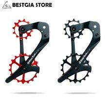 12/18T Keramik Lager Fahrrad Schaltwerk Jockey Rad Set Carbon Fiber Körper Bike Pulley Rad Hinten für SRAM X1 XX1 GX NX