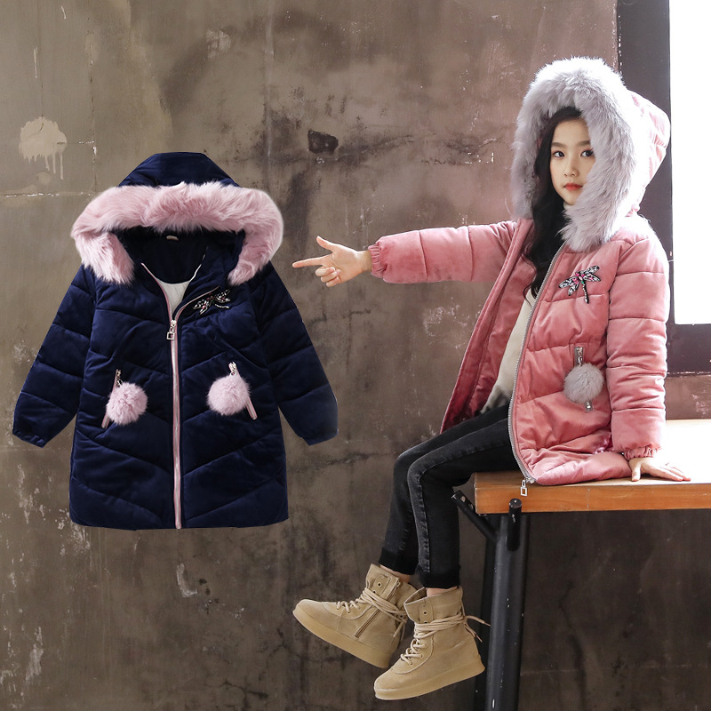 2018 New Fashion Baby Girl Thicken Cotton-Padded With Fur Hat Clothes Girls Kawaii Hooded Winter Warm Parkas Coat Christmas Gift winter parkas women new design elegant ladies fur hooded zipper thicken warm coats&jackets female cotton padded coat a4400