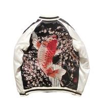 Originally Jacket for Women and Men Spring Autumn Chinese Wind Sakura Koi Embroidered Yokosuka Baseball Coat Harajuku Jackets