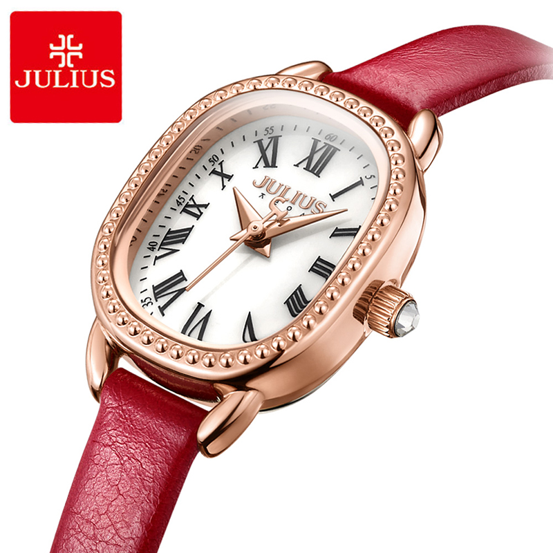 Julius Retro Square Dial Leather Watch Woman Casual Waterproof Quartz Wristwatches Luxury Dress Watch Gifts Montre Femme