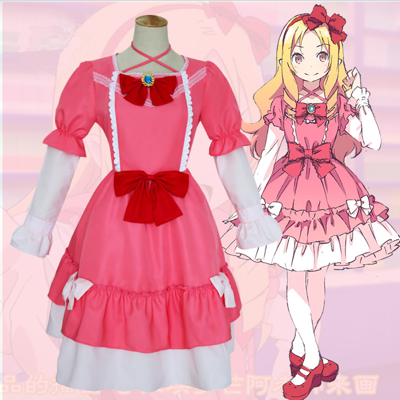 2017 Hot New Anime Eromanga Sensei Yamada Elf Dress Cosplay Costume Cute Pink Lolita Dress Fancy Party Outfits for Halloween