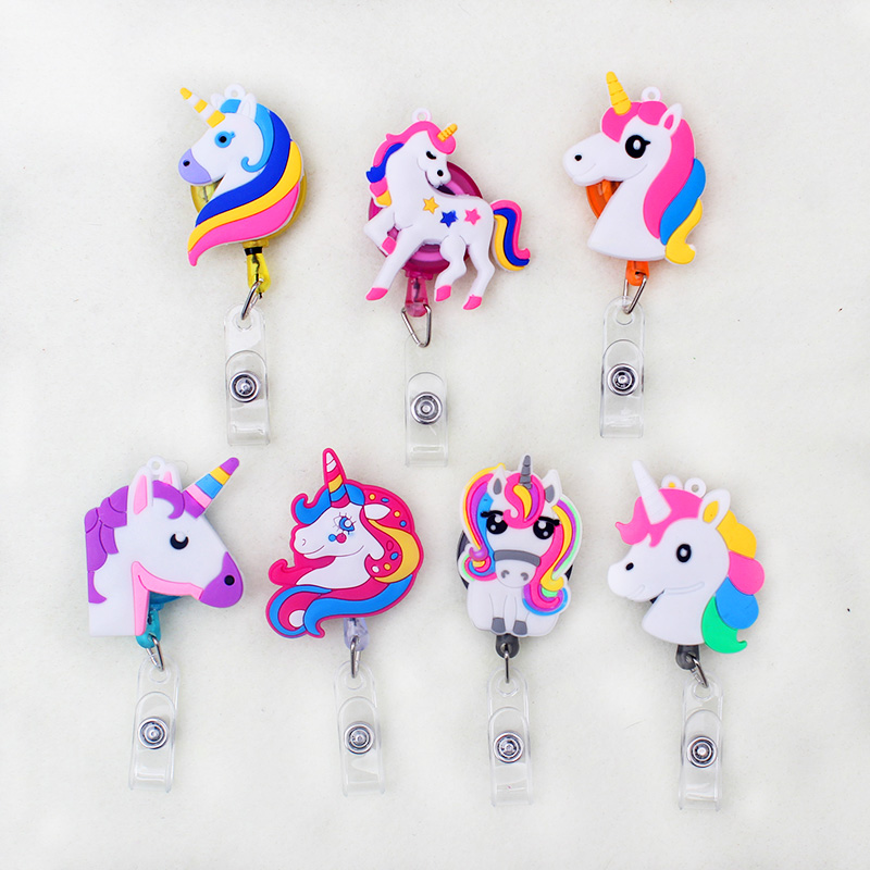 Cute Unicorn Retractable Plastic Badge Holder Reel Student Nurse Use For Exhibition ID Enfermera Name Card Office Chest Card