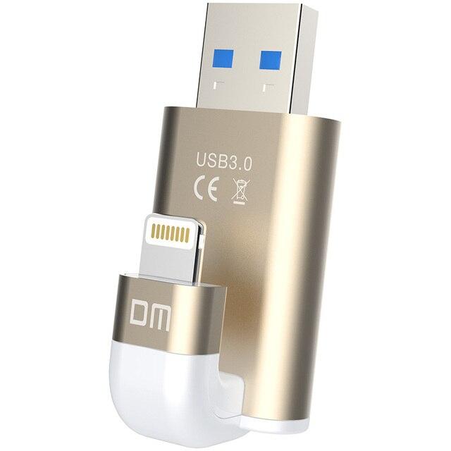 DM APD003 USB Flash Drive 32GB 64GB For iPhone 8 7 Plus Lightning to Metal Pen Drive U Disk for MFi iOS10 memory stick 128GB