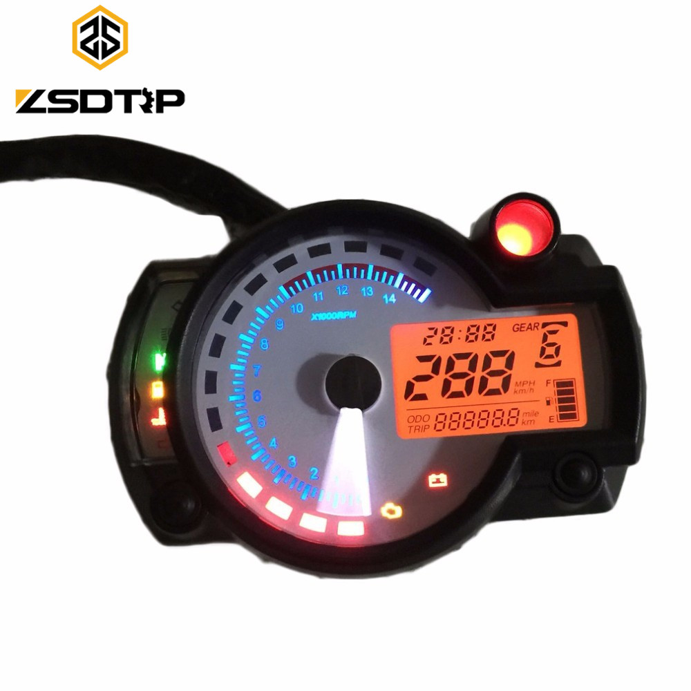 Free shipping ZSDTRP Motorcycle digital speedometer colorful back light LCD Odometer KOSO RX2N Universal all motorbike
