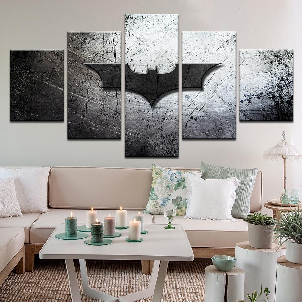 5 Panel Hd Printed Modular Canvas Painting Batman Poster