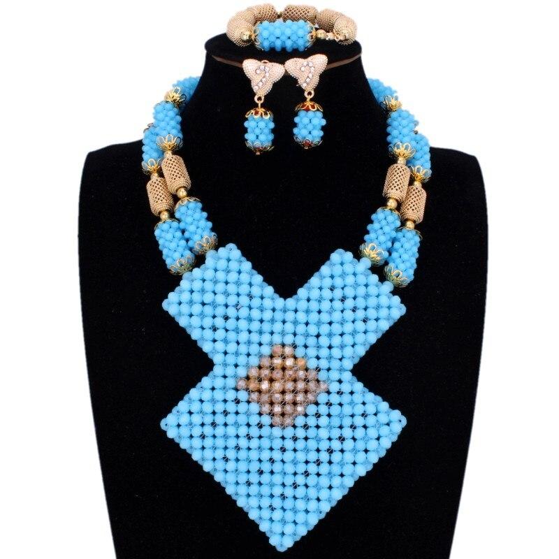 Ensembles de bijoux fins bleu de mer et or Dubai colliers géométrique nigérian perles de mariage ensembles de bijoux pour les femmes livraison gratuite 2018