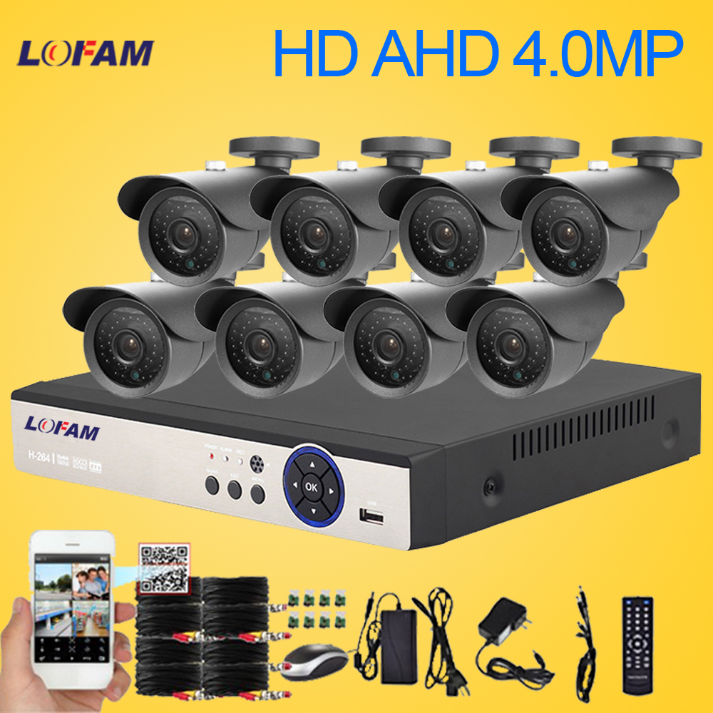 LOFAM 8CH DVR System 4MP AHD DVR Kit Video Surveillance System 8CH Metal Outdoor Waterproof 4.0MP CCTV Security Camera System-in Surveillance System from Security & Protection    1