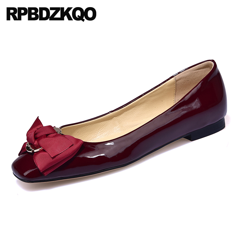 цена high quality red wine square toe patent leather china bow real women flats shoes with little cute bowtie metal chinese genuine