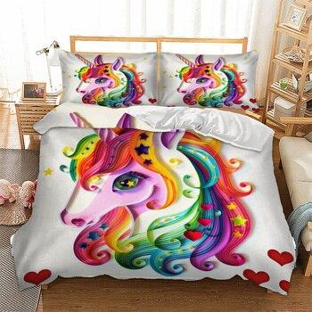 Unicorn מצעים סט ססגוני בעלי החיים Cartoon שמיכה כיסוי כרית מקרי Twin מלא מלכת מלך סופר מלך גודל ילדים מצעי 3 pcs