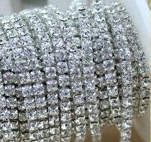 10 mt/los 3mm Kristall Silber Glas Strass Strass Schalenkette Für Hochzeitskleid, Party dekoration freeshipping