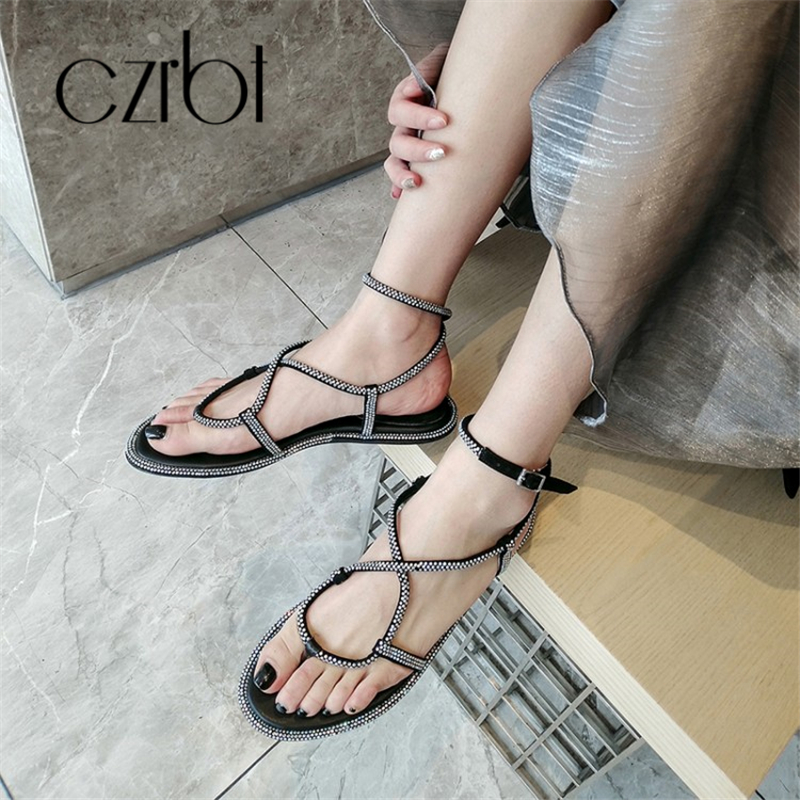 CZRBT 2019 Trendy Beads Decorative Sexy Leather Ladies Sandals Hand made Non slip Comfortable Cool Flat heeled Ladies Sandals - 4