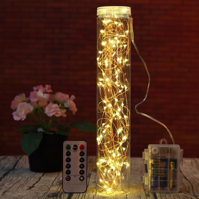 Us 15 11 5 Off 10m Led Fairy Lights Battery Operated With Timer Remote Dimmable Waterproof Starry String Wedding Decoration Christmas Garland In