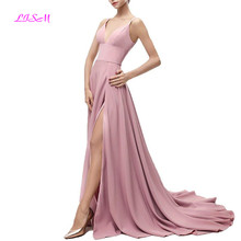 Soft Chiffon Long Prom Dresses 2019 Sexy Side Split Formal Dress