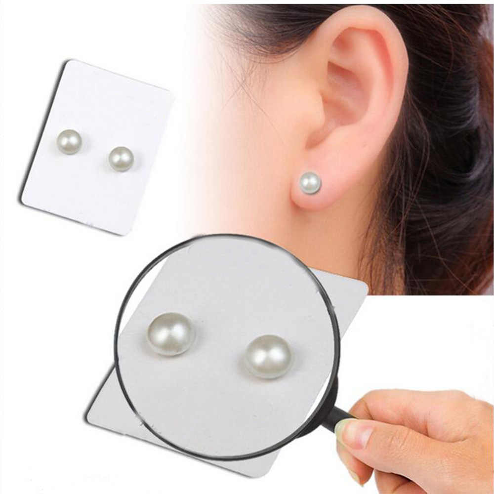 Fashional 6mm Magnet Magnetic Ear Stud One Pair Fashion Non Piercing Clip Stud Earrings Lover Jewelry Earrings Pearl E265