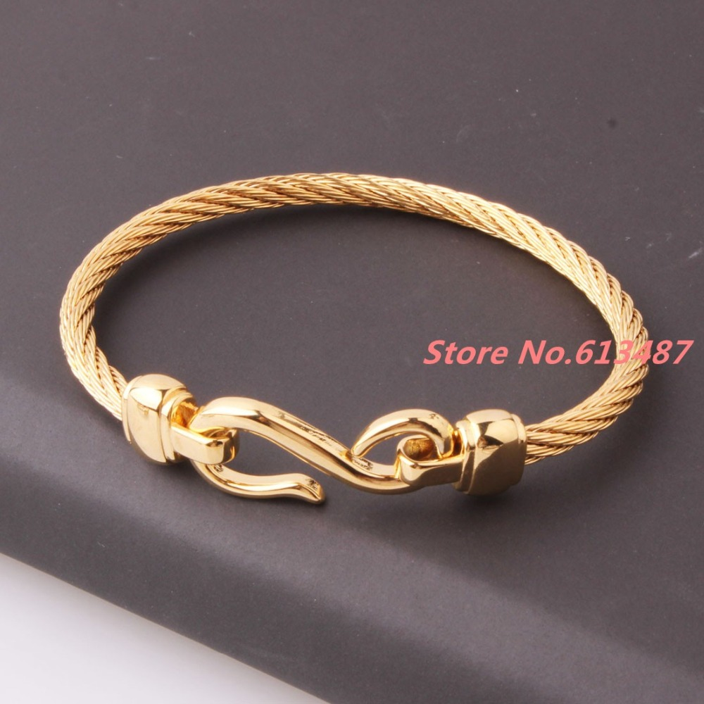 New 4mm 316L Stainless Steel Twisted Cable Wire Gold Cuff Chain Men ...