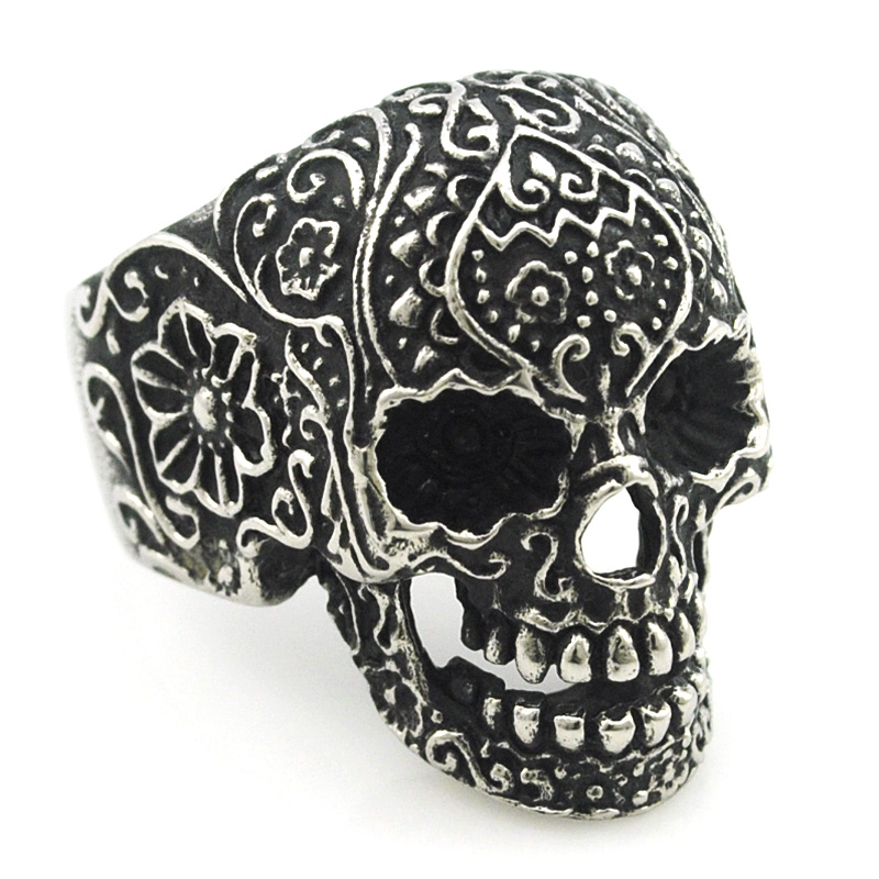 Moorvan Mens Stainless Steel Elegent Head of Skull Rings Vintage Gothic Black Poker Skeleton Jewellery 2016 For His Gift VR065