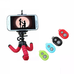 Camera Mini Flexible Sponge Octopus Tripod+Bluetooth Remote Control For iPhone Xiaomi Redmi Huawei 55-85mm Body-Wide Smart Phone