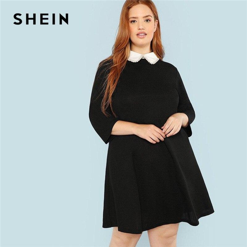 SHEIN más el tamaño negro lindo Peter pan Collar abalorios perla embellecido Línea A vestidos sueltos mujeres primavera otoño vestido hasta la rodilla