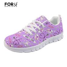 FORUDESIGNS Women Nurse Sneakers Cute Purple Print Girls Casual Walking Shoes Nursing Flats Student Zapatos Tenis Feminino