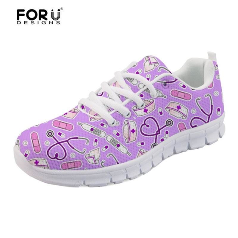 FORUDESIGNS Women Nurse Sneakers Cute Purple Print Girls Casual Walking Shoes Nursing Flats Student Shoes Zapatos Tenis Feminino image