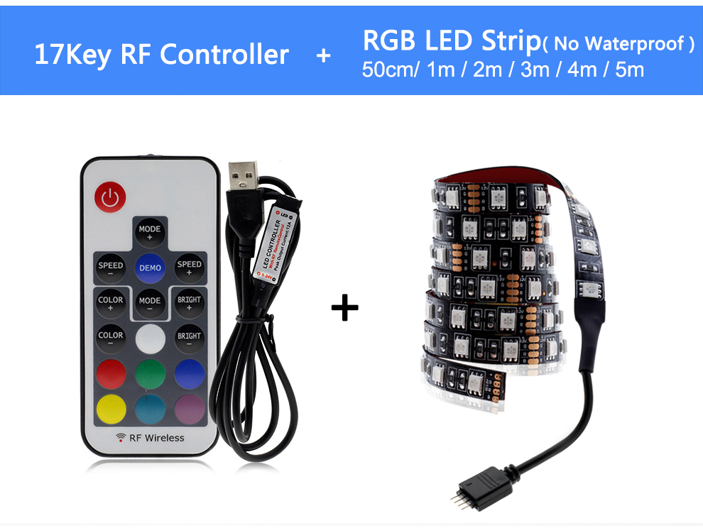 HTB18OGOO9zqK1RjSZPcq6zTepXaR USB LED Strip 5050 RGB Changeable LED TV Background Lighting 50CM 1M 2M 3M 4M 5M DIY Flexible LED Light.